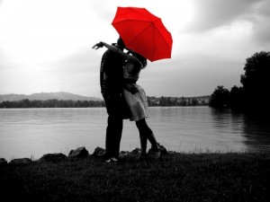 Lovers Under Red Umbrella